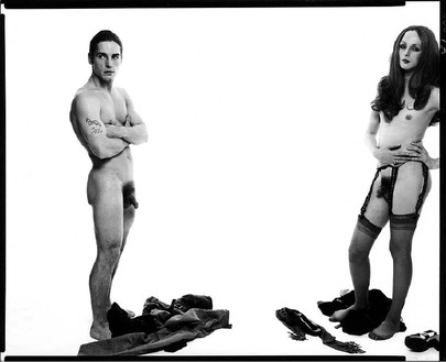 Richard Avedon, Andy Warhol and members of The Factory: Joe Dallesandro and Candy Darling, actors, New York, October 30, 1969, 1969 Gelatin silver print, 34 × 42 inches (86.3 × 106.6 cm), edition of 3 + 1 AP© The Richard Avedon Foundation
