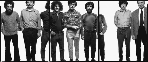Richard Avedon, The Chicago Seven: Lee Weiner, John Froines, Abbie Hoffman, Rennie Davis, Jerry Rubin, Tom Hayden, Dave Dellinger, Chicago, Illinois, November 5, 1969, 1969 Gelatin silver print, 121 ¾ × 242 ¾ inches (309.2 × 616.5 cm), edition of 2 + 1 AP© The Richard Avedon Foundation