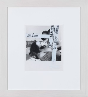Richard Prince, Untitled, 2012 Black and white photograph and stickers, 10 × 8 inches (25.4 × 20.3 cm)