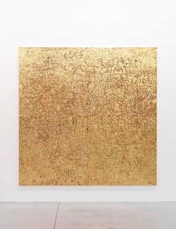 Rudolf Stingel, Untitled, 2012 Electroformed copper, plated nickel, and gold, 94 ½ × 94 ½ × 1 ½ inches (240 × 240 × 3.8 cm)© Rudolf Stingel. Photo: Alessandro Zambianchi