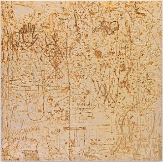 Rudolf Stingel, Untitled, 2012 Electroformed copper, plated nickel, and gold, 47 ⅜ × 47 ¼ × 1 ½ inches (120.3 × 120 × 3.8 cm)© Rudolf Stingel. Photo: Alessandro Zambianchi