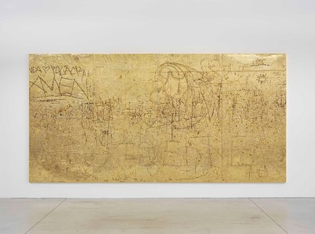 Rudolf Stingel, Untitled, 2012 Electroformed copper, plated nickel, and gold, 94 ½ × 189 × 1 ½ inches (240 × 480.1 × 3.8 cm)© Rudolf Stingel. Photo: Alessandro Zambianchi
