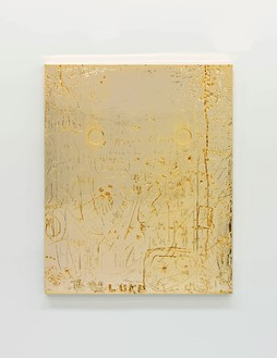 Rudolf Stingel, Untitled, 2012 Electroformed copper, plated nickel, and gold, 47 ⅜ × 39 ½ × 1 ½ inches (120.3 × 100.3 × 3.8 cm)© Rudolf Stingel. Photo: Alessandro Zambianchi