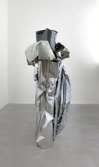 John Chamberlain, GOOSECAKEWALK, 2009 Painted and chrome-plated steel, 82 ½ × 45 ½ × 32 ½ inches (209.6 × 115.6 × 82.6 cm)© Fairweather & Fairweather LTD/Artists Rights Society (ARS), New York
