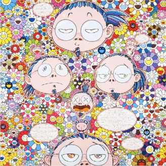 Takashi Murakami, Self-Portrait of the Manifold Worries of a Manifoldly Distressed Artist, 2012 Acrylic on canvas mounted on board, 59 × 59 inches (150 × 150 cm)© Takashi Murakami/Kaikai Kiki Co., Ltd. All rights reserved