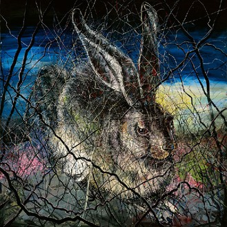Zeng Fanzhi, Hare, 2012 Oil on canvas, in 2 parts; overall: 157 ½ × 157 ½ inches (400 × 400 cm)© Zeng Fanzhi Studio