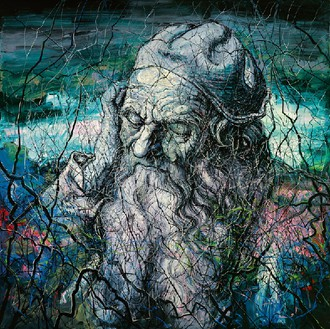 Zeng Fanzhi, Head of an Old Man, 2012 Oil on canvas, in 2 parts, overall: 157 ½ × 157 ½ inches (400 × 400 cm)© Zeng Fanzhi Studio