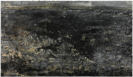 Anselm Kiefer, Nigredo—Morgenthau, 2012 Emulsion and acrylic on photograph on canvas, 75 × 149 ¾ inches (190 × 380 cm)© Anselm Kiefer