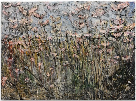 Anselm Kiefer, der Morgenthau-Plan, 2012 Acrylic, emulsion, oil, and shellac on photograph mounted on canvas, 110 ¼ × 149 ⅝ inches (280 × 380 cm)© Anselm Kiefer