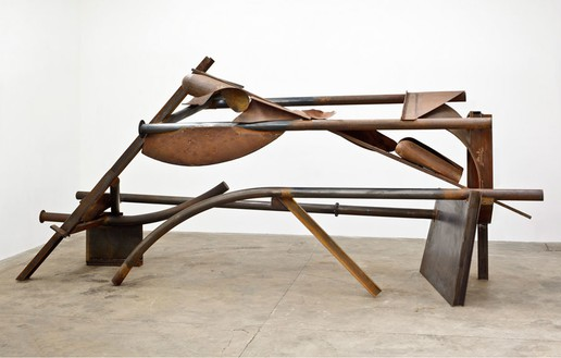 Anthony Caro, Laughter and Crying, 2012 Steel, rusted, 97 3/16 × 220 ½ × 61 ⅜ inches (247 × 560 × 156 cm)© Barford Sculptures Ltd, photo by John Hammond