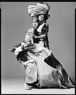 Richard Avedon, Malgosia Bela and Gisele Bundchen, dress by Dior Couture, New York City, March 2000, 2001 Gelatin silver print, 24 × 20 inches (61 × 50.8 cm), edition of 15© The Richard Avedon Foundation
