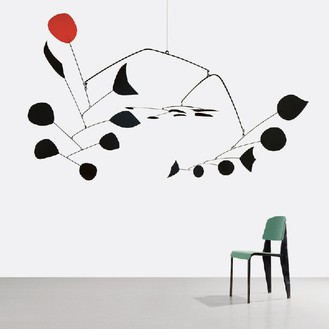 ALEXANDER CALDER Rouge Triomphant (Triumphant Red), 1959–65 Sheet metal, rod, and paint 110 × 230 × 180 inches (279.4 × 584.2 × 457.2 cm) © 2013 Calder Foundation, New York/Artists Right Society (ARS), New York and JEAN PROUVÉ Chaise Metropole n° 305, variante avec assise et dossier aluminium, 1953 Steel sheet, steel tube, plywood 30 11/16 × 15 3/4 × 16 1/8 inches (78 × 40 × 41 cm) Courtesy Galerie Patrick Seguin