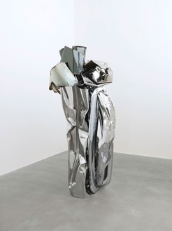 John Chamberlain, GOOSECAKEWALK, 2009 Painted and chrome-plated steel, 82 ½ × 45 ½ × 32 ½ inches (209.6 × 115.6 × 82.6 cm)© 2013 Fairweather & Fairweather LTD/Artists Rights Society (ARS), New York