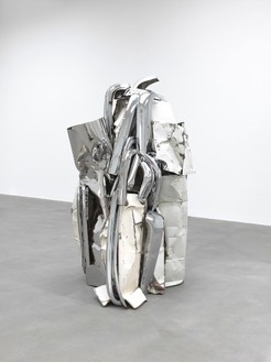 John Chamberlain, ACEDIDDLEY, 2008 Painted and chrome-plated steel, 86 ¾ × 55 ¼ × 53 ¼ inches (220.3 × 140.3 × 135.3 cm)© 2013 Fairweather & Fairweather LTD/Artists Rights Society (ARS), New York