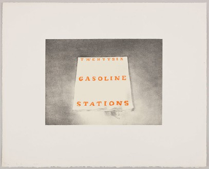 Ed Ruscha, Twentysix Gasoline Stations, 1970 Lithograph on white Arches paper with torn and deckle edges, 16 × 20 inches (40.6 × 50.8 cm), edition of 30© Ed Ruscha