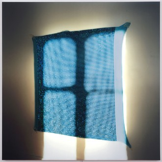 Elisa Sighicelli, Untitled (Blue Fabric), 2011 Partially backlit C-print mounted on lightbox, 48 13/16 × 48 13/16 × 1 9/16 inches (124 × 124 × 4 cm), edition of 3