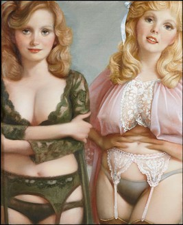 John Currin, Lynette & Janette, 2013 Oil on canvas, 42 × 34 inches (106.7 × 86.4 cm)© John Currin. Photo: Rob McKeever