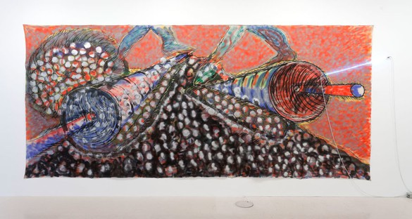 Mario Merz, I giganti boscaiuoli, 1981–82 Oil, acrylic, charcoal and neon, 98 × 230 inches (249 × 584.2 cm)© 2013/Artists Rights Society (ARS), New York / SIAE, Rome, photo by Zarko Vijatovic