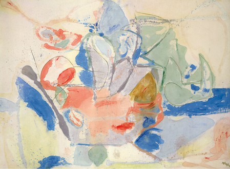 Helen Frankenthaler, Mountains and Sea, 1952 Oil and charcoal on canvas, 86 ⅜ × 117 ¼ inches (219.4 × 297.8 cm)Helen Frankenthaler Foundation, Inc., on extended loan to the National Gallery of Art, Washington, DC© 2013 Estate of Helen Frankenthaler/Artists Rights Society (ARS), New York