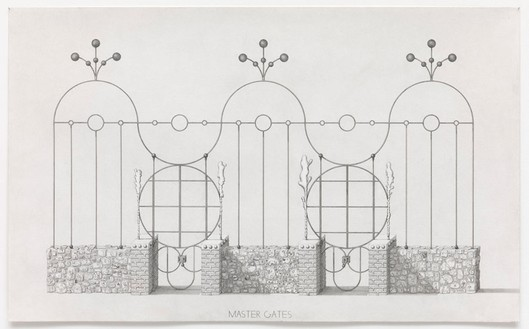 Paul Noble, Master Gates, 2013 Pencil and drip on paper, 29 ½ × 48 inches unframed (75 × 122 cm)