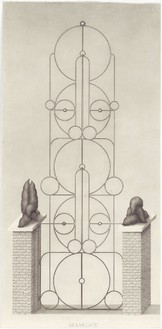 Paul Noble, Mr and Mr Gate, 2010 Pencil on paper, 45 ⅛ × 21 ⅞ inches unframed (114.6 × 55.7 cm)