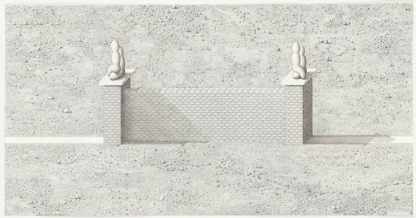 Paul Noble, A Wall is a Path, 2011 Pencil on paper, 31 ⅛ × 60 inches unframed (79 × 152.4 cm)