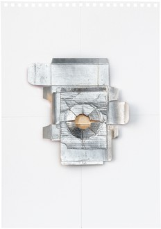 Rachel Whiteread, Untitled (Amber), 2012 Silver leaf, cardboard, celluloid, and graphite on paper, 16 ⅝ × 11 ⅝ inches (42 × 29.5 cm)© Rachel Whiteread. Photo: Prudence Cumings Associates