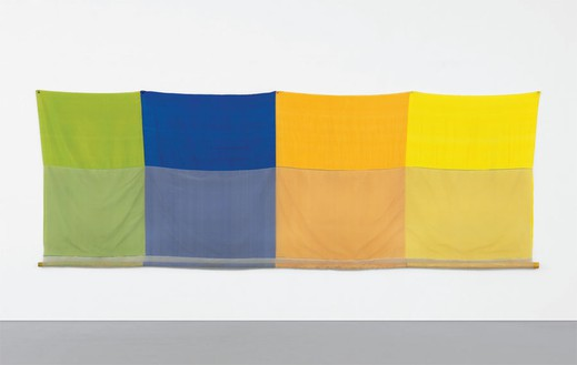 Robert Rauschenberg, Quarterhouse (Jammer), 1975 Sewn fabric and cloth-covered rattan poles, 59 ½ × 168 ½ inches (151.1 × 428 cm)© The Robert Rauschenberg Foundation 2013/Licensed by VAGA, New York