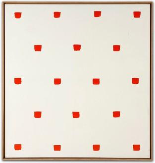 Niele Toroni, Empreintes de pinceau No. 50 répétées à intervalles réguliers de 30 cm, 1973 Oil on canvas, 47 ¼ × 43 ¼ inches (120 × 110 cm)
