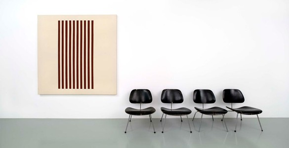 John Armleder, CRE (Furniture Sculpture), 1986–2006 Plywood, metal, enamel paint on canvas, chairs, 88 9/16 × 164 9/16 × 29 15/16 inches (225 × 418 × 76 cm)