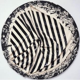 Steven Parrino, Skeletal Implosion, 2001 Enamel on canvas, 84 inches diameter (213.4 cm)