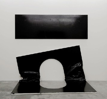 Steven Parrino, The Self Mutilation Bootleg 2 (The Open Grave), 2003 Enamel on canvas, 115 × 64 × 20 inches (292.1 × 162.6 × 50.8 cm)
