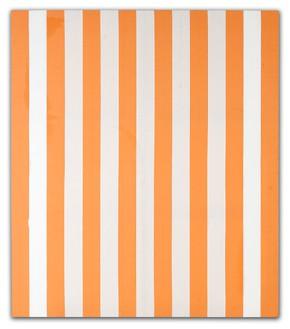 Daniel Buren, Peinture acrylique blanche sure tissu rayé blanc et orange, Décembre 1970, 1970 White and orange striped canvas and white paint, 59 13/16 × 51 3/16 inches (152. × 130 cm)