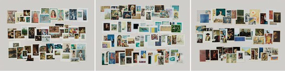 Taryn Simon, Folders: Paintings, Fa–Fn; Ma–Md; Ra–Rn, 2012 Archival inkjet prints comprised of 3 components, 47 × 186 inches framed, each (119.4 × 472.4 cm), edition of 5