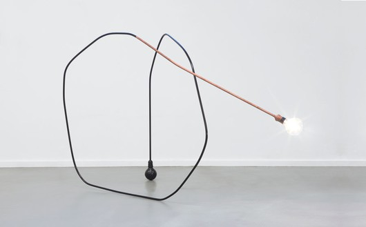 Tatiana Trouvé, I tempi doppi, 2013 Copper, paint, bronze, and light bulb, 42 ⅛ × 71 ⅝ × 27 ⅝ inches (107 × 182 × 70 cm)Photo by Laurent Edeline