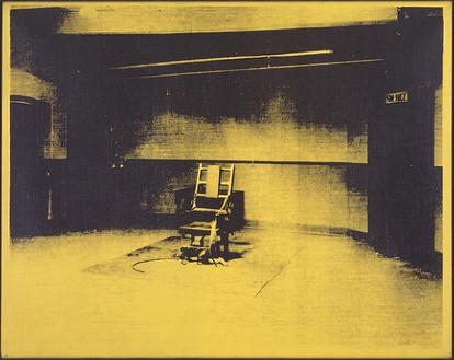 Andy Warhol, Little Electric Chair, 1965 Acrylic and silkscreen ink on linen, 22 × 28 inches (55.9 × 71.1 cm)© The Andy Warhol Foundation for the Visual Arts, Inc./Artists Rights Society (ARS), New York