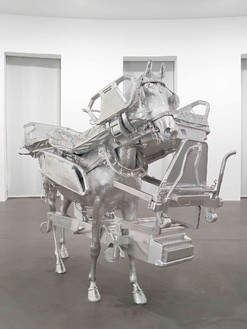 Urs Fischer, Horse/Bed, 2013 Milled aluminum, galvanized steel, screws, bolts, and two-component resin, 85 ⅞ × 103 ⅝ × 43 ¾ inches (218.1 × 263.1 × 111.1 cm), edition of 3© Urs Fischer. Photo: Matteo D'Eletto