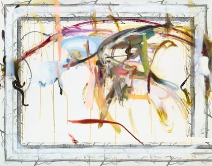 Albert Oehlen, Untitled, 2012 Oil and paper on canvas, 70 ⅞ × 90 ⅝ inches (180 × 230 cm)© Albert Oehlen. Photo: Lothar Schnepf