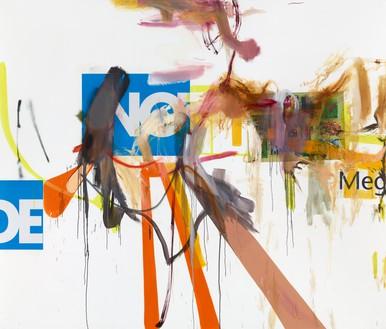 Albert Oehlen, Untitled, 2014 Oil and paper on canvas, 90 ⅝ × 106 ⅜ inches (230 × 270 cm)© Albert Oehlen. Photo: Lothar Schnepf