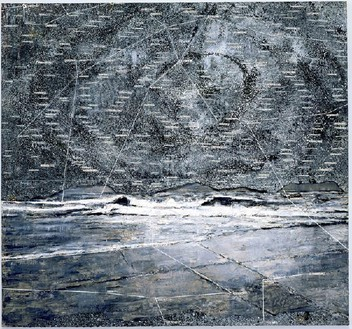 Anselm Kiefer, Wasserman, 2001 Oil, emulsion, and acrylic on lead and canvas, 183 × 196 ¾ inches (464.8 × 499.7 cm)© Anselm Kiefer