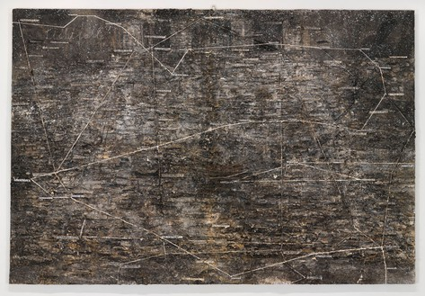 Anselm Kiefer, Lichtfalle, 1999 Shellac, emulsion, glass, and steel trap on linen, 149 × 220 inches (378.5 × 558.8 cm)© Anselm Kiefer. Photo: Rob McKeever