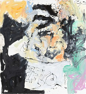 Georg Baselitz, Lehr nich ratte much wilm (Lelf bal wile), 2013 Oil on canvas, 118 ⅛ × 108 ¼ inches (300 × 275 cm)© Georg Baselitz