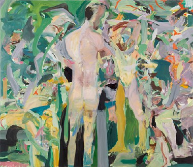 Cecily Brown, Hollyhocks that aim too high, 2013 Oil on linen, 53 × 61 inches (134.6 × 154.9 cm)Photo by Rob McKeever