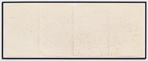 Mark Lombardi, Bank of Credit and Commerce International, International Credit and Investment Corporation and First American Bankshares c. 1972–91 aka BCCI-ICIC-FAB (4th version), 1996 Graphite on paper, framed: 52 × 138 inches (132.1 × 350.5 cm)Photo: Douglas M. Parker Studio