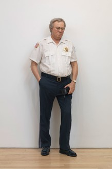 Duane Hanson, Security Guard, 1990 Autobody filler polychromed in oil, mixed media, and accessories, 71 × 26 × 13 inches (180.3 × 66 × 33 cm)Photo by Rob McKeever