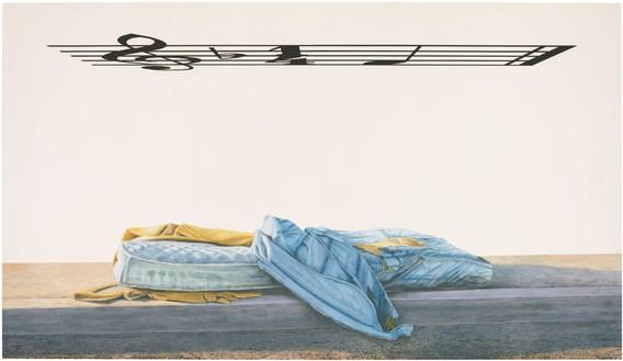 Ed Ruscha, Bliss Bucket, 2014 Acrylic on canvas, 72 × 124 inches (182.9 × 315 cm)© Ed Ruscha