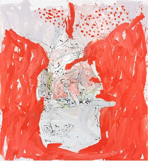 Georg Baselitz, Auch wirt lern helmt mich (Able fwill red), 2013 Oil on canvas, 118 ⅛ × 108 ¼ inches (300 × 275 cm)© Georg Baselitz. Photo: Jochen Littkemann