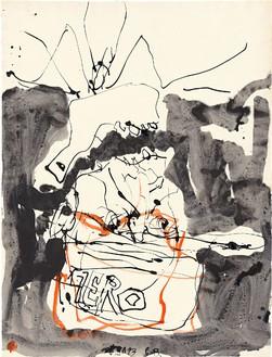 Georg Baselitz, Untitled, 2013 Pen and ink, watercolor and ink, wash on paper, 26 × 19 ¾ inches (66 × 50.2 cm)© Georg Baselitz. Photo: Jochen Littkemann