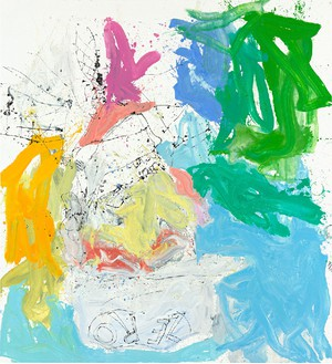 Georg Baselitz, Ill wam ruch nichtet mehr (Ill bar fe well), 2013 Oil on canvas, 118 ⅛ × 108 ¼ inches (300 × 275 cm)© Georg Baselitz. Photo: Jochen Littkemann