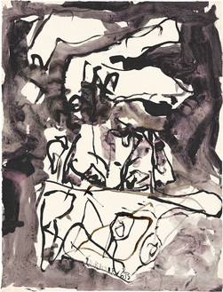 Georg Baselitz, Untitled, 2013 India ink and watercolor on paper, 26 × 19 ¾ inches (66.1 × 50.3 cm)© Georg Baselitz. Photo: Jochen Littkemann